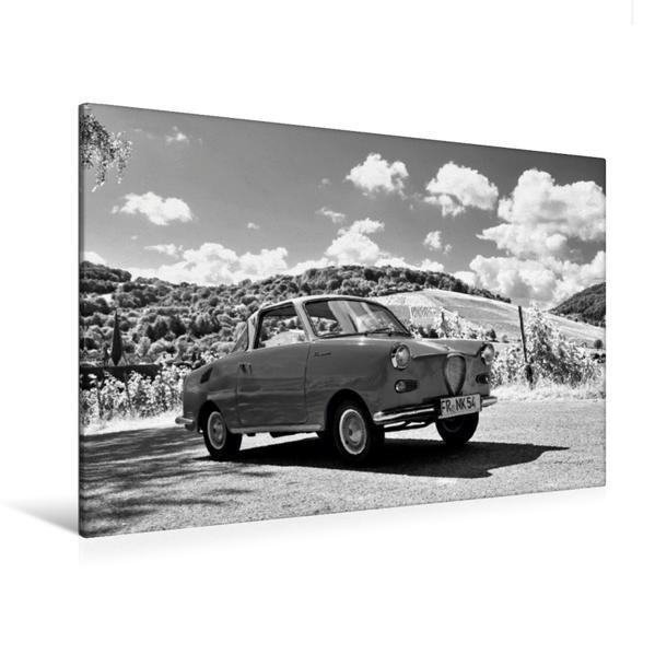 Premium Textil-Leinwand 120 cm x 80 cm quer, Ein Motiv aus dem Kalender Goggomobil Coupè 250 TS in schwarzweiss | Wandbild, Bild auf Keilrahmen, Fertigbild auf echter Leinwand, Leinwanddruck - Coverbild