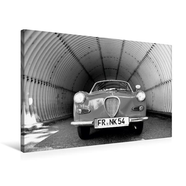 Premium Textil-Leinwand 75 cm x 50 cm quer, Ein Motiv aus dem Kalender Goggomobil Coupè 250 TS in schwarzweiss | Wandbild, Bild auf Keilrahmen, Fertigbild auf echter Leinwand, Leinwanddruck - Coverbild
