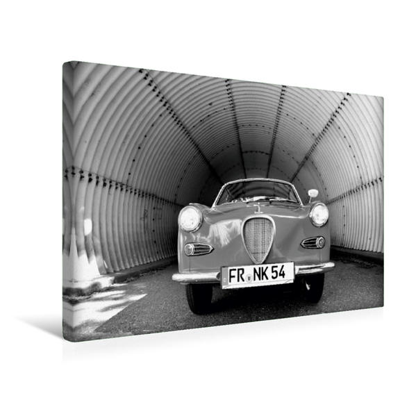 Premium Textil-Leinwand 45 cm x 30 cm quer, Ein Motiv aus dem Kalender Goggomobil Coupè 250 TS in schwarzweiss | Wandbild, Bild auf Keilrahmen, Fertigbild auf echter Leinwand, Leinwanddruck - Coverbild