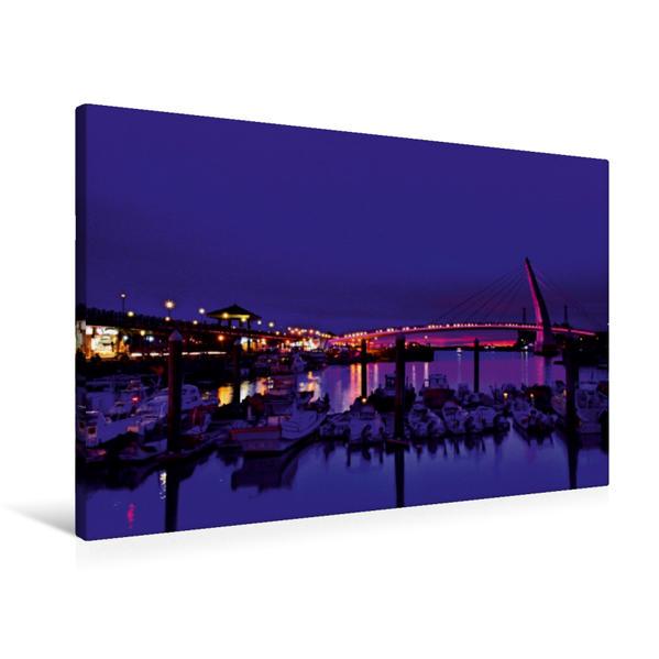 Premium Textil-Leinwand 90 cm x 60 cm quer, Fisherman's wharf in Taipei   Wandbild, Bild auf Keilrahmen, Fertigbild auf echter Leinwand, Leinwanddruck - Coverbild