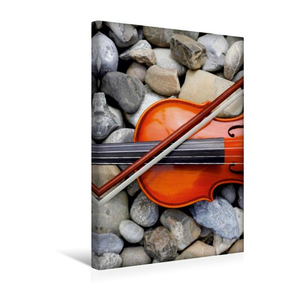 Premium Textil-Leinwand 30 cm x 45 cm hoch, Violine mit Bogen | Wandbild, Bild auf Keilrahmen, Fertigbild auf echter Leinwand, Leinwanddruck - Coverbild