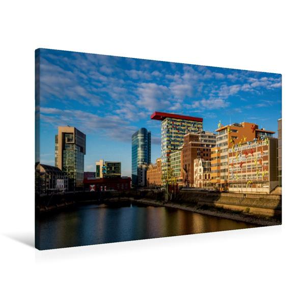 Premium Textil-Leinwand 90 cm x 60 cm quer, Düsseldorf | Wandbild, Bild auf Keilrahmen, Fertigbild auf echter Leinwand, Leinwanddruck - Coverbild