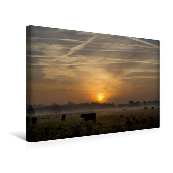 Premium Textil-Leinwand 45 cm x 30 cm quer, Morgennebel in Schleswig-Holstein | Wandbild, Bild auf Keilrahmen, Fertigbild auf echter Leinwand, Leinwanddruck - Coverbild