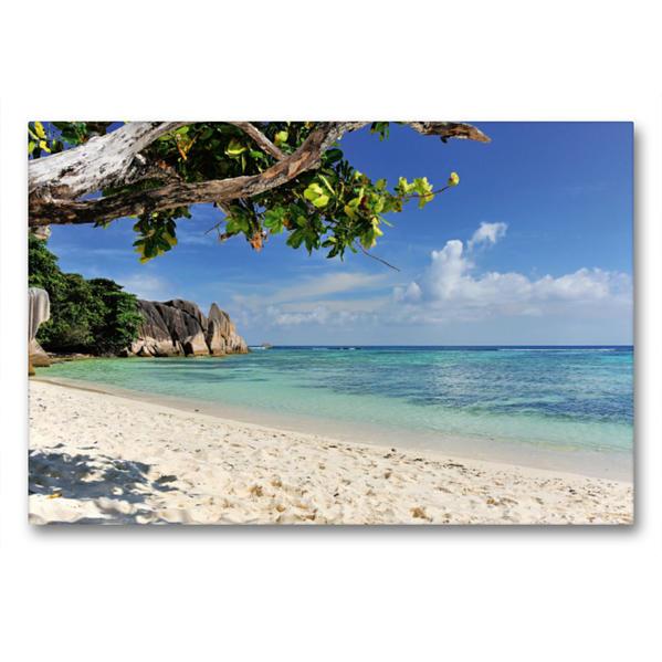 Premium Textil-Leinwand 90 cm x 60 cm quer, Traumstrand Seychellen | Wandbild, Bild auf Keilrahmen, Fertigbild auf echter Leinwand, Leinwanddruck - Coverbild