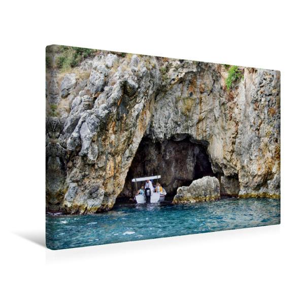 Premium Textil-Leinwand 45 cm x 30 cm quer, Meeresgrotte bei Paleokastritsa | Wandbild, Bild auf Keilrahmen, Fertigbild auf echter Leinwand, Leinwanddruck - Coverbild