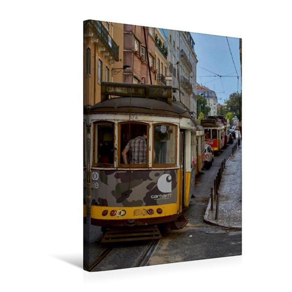Premium Textil-Leinwand 50 cm x 75 cm hoch, Ein Motiv aus dem Kalender Lissabons Straßenbahnen | Wandbild, Bild auf Keilrahmen, Fertigbild auf echter Leinwand, Leinwanddruck - Coverbild