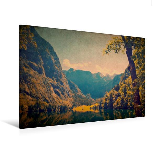 Premium Textil-Leinwand 120 cm x 80 cm quer, Obersee mit Blick auf die Fischunkelalm | Wandbild, Bild auf Keilrahmen, Fertigbild auf echter Leinwand, Leinwanddruck - Coverbild