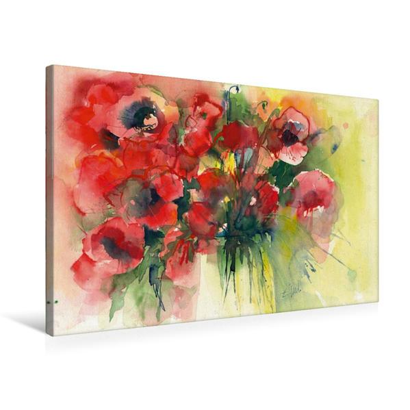Premium Textil-Leinwand 75 cm x 50 cm quer, Mohnblüten, Aquarell von ECKARD FUNCK | Wandbild, Bild auf Keilrahmen, Fertigbild auf echter Leinwand, Leinwanddruck - Coverbild