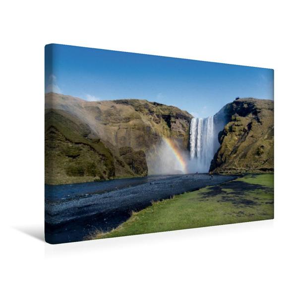 Premium Textil-Leinwand 45 cm x 30 cm quer, Skogafoss | Wandbild, Bild auf Keilrahmen, Fertigbild auf echter Leinwand, Leinwanddruck - Coverbild
