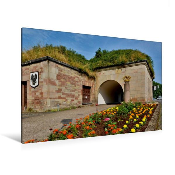 Premium Textil-Leinwand 120 cm x 80 cm quer, Am deutschen Tor | Wandbild, Bild auf Keilrahmen, Fertigbild auf echter Leinwand, Leinwanddruck - Coverbild