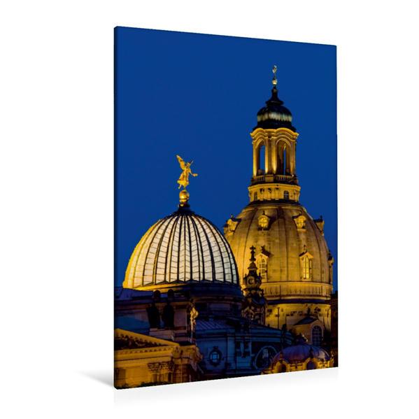 Premium Textil-Leinwand 80 cm x 120 cm  hoch, Dresden - Frauenkirche und Zitronenpresse | Wandbild, Bild auf Keilrahmen, Fertigbild auf echter Leinwand, Leinwanddruck - Coverbild