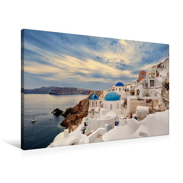 Premium Textil-Leinwand 90 cm x 60 cm quer, Oia | Wandbild, Bild auf Keilrahmen, Fertigbild auf echter Leinwand, Leinwanddruck - Coverbild
