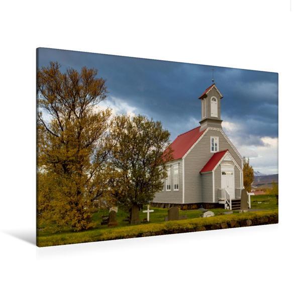 Premium Textil-Leinwand 120 cm x 80 cm quer, Die alte Kirche von Reykholt | Wandbild, Bild auf Keilrahmen, Fertigbild auf echter Leinwand, Leinwanddruck - Coverbild