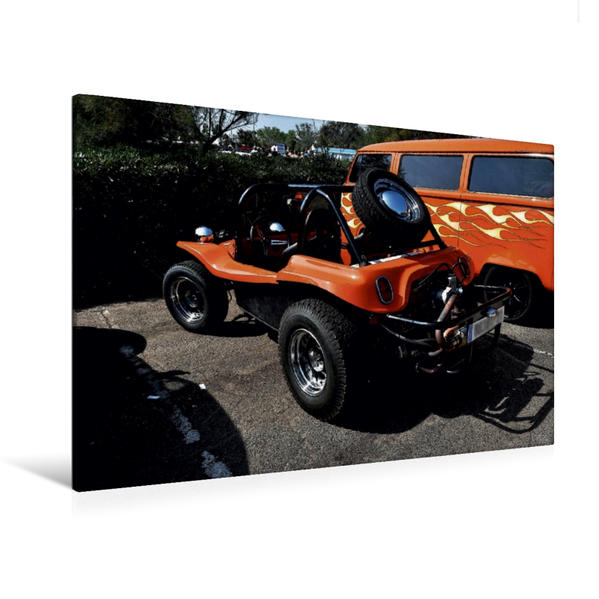 Premium Textil-Leinwand 120 cm x 80 cm quer, Ein Motiv aus dem Kalender Buggys - die Kultautos der 80er | Wandbild, Bild auf Keilrahmen, Fertigbild auf echter Leinwand, Leinwanddruck - Coverbild