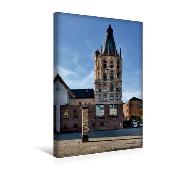 Premium Textil-Leinwand 30 cm x 45 cm hoch, Rathausturm | Wandbild, Bild auf Keilrahmen, Fertigbild auf echter Leinwand, Leinwanddruck - Coverbild