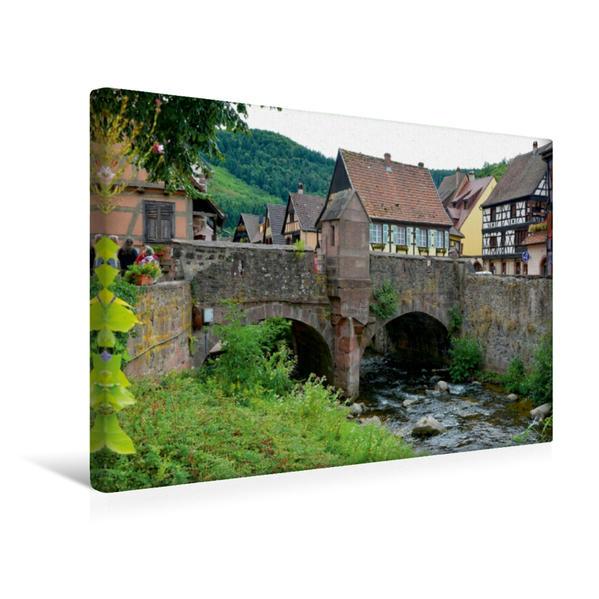 Premium Textil-Leinwand 45 cm x 30 cm quer, Befestigte Brücke von 1514 | Wandbild, Bild auf Keilrahmen, Fertigbild auf echter Leinwand, Leinwanddruck - Coverbild