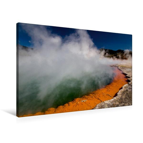 Premium Textil-Leinwand 90 cm x 60 cm quer, Champagne Pool - Wai-O-Tapu, Neuseeland | Wandbild, Bild auf Keilrahmen, Fertigbild auf echter Leinwand, Leinwanddruck - Coverbild