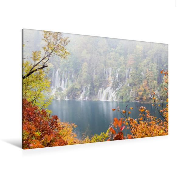 Premium Textil-Leinwand 120 cm x 80 cm quer, Ein Motiv aus dem Kalender Herbstimpressionen Plitvicer Seen | Wandbild, Bild auf Keilrahmen, Fertigbild auf echter Leinwand, Leinwanddruck - Coverbild