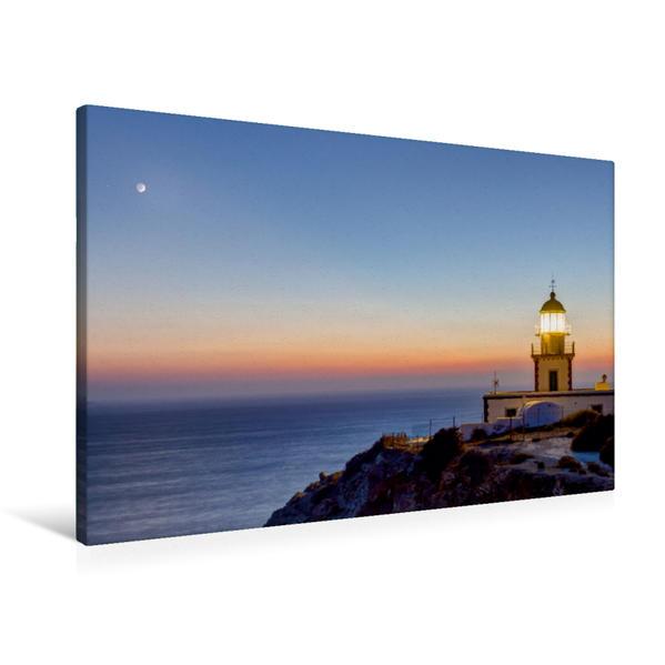 Premium Textil-Leinwand 90 cm x 60 cm quer, Leuchturm - Griecheland | Wandbild, Bild auf Keilrahmen, Fertigbild auf echter Leinwand, Leinwanddruck - Coverbild