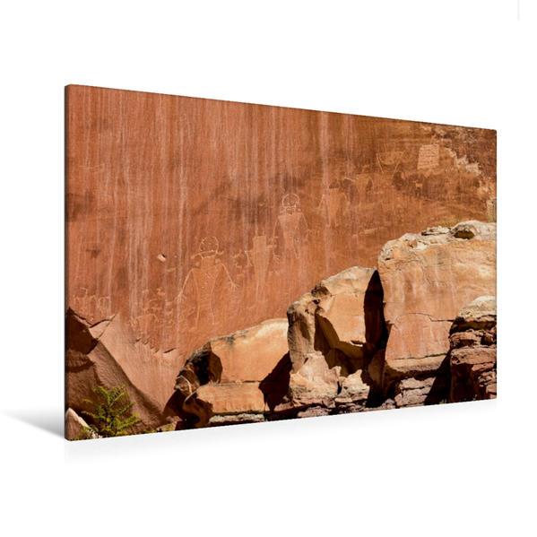 Premium Textil-Leinwand 120 cm x 80 cm quer, Petroglyphs | Wandbild, Bild auf Keilrahmen, Fertigbild auf echter Leinwand, Leinwanddruck - Coverbild