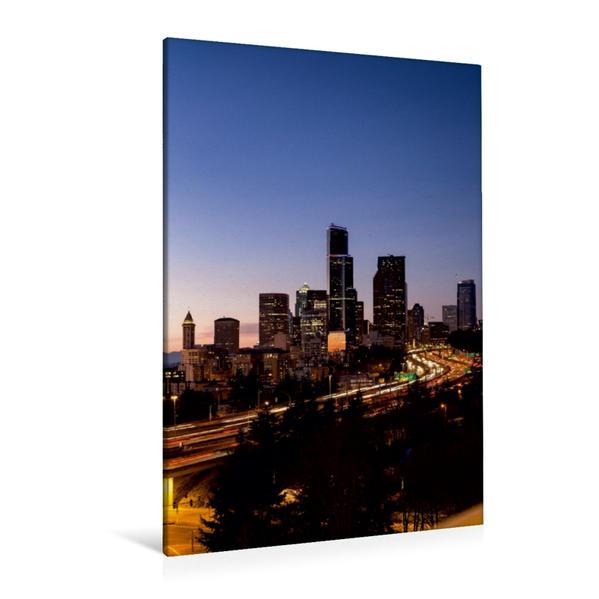 Premium Textil-Leinwand 80 cm x 120 cm  hoch, Seattle Downtown von Süden | Wandbild, Bild auf Keilrahmen, Fertigbild auf echter Leinwand, Leinwanddruck - Coverbild