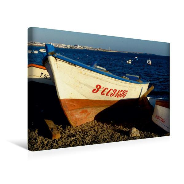Premium Textil-Leinwand 45 cm x 30 cm quer, Boote auf Lanzarote | Wandbild, Bild auf Keilrahmen, Fertigbild auf echter Leinwand, Leinwanddruck - Coverbild