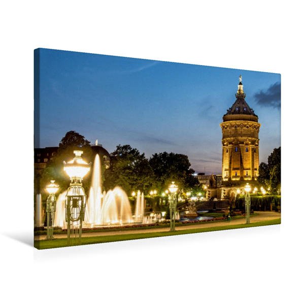 Premium Textil-Leinwand 75 cm x 50 cm quer, Mannheim - Wasserturm   Wandbild, Bild auf Keilrahmen, Fertigbild auf echter Leinwand, Leinwanddruck - Coverbild