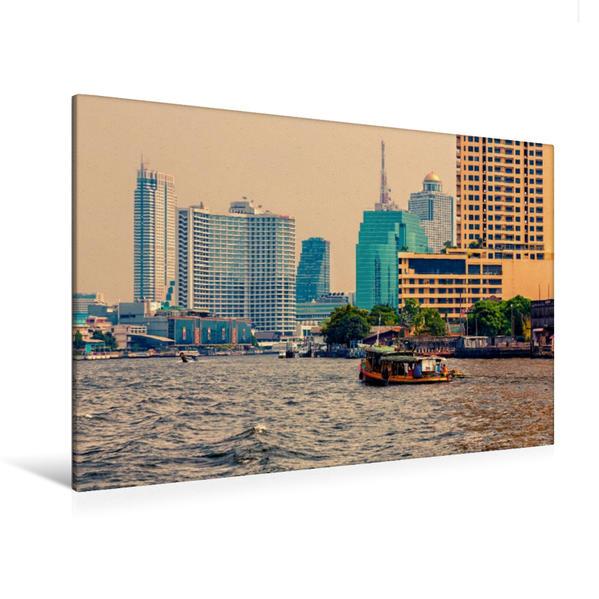 Premium Textil-Leinwand 120 cm x 80 cm quer, Chao Phraya | Wandbild, Bild auf Keilrahmen, Fertigbild auf echter Leinwand, Leinwanddruck - Coverbild