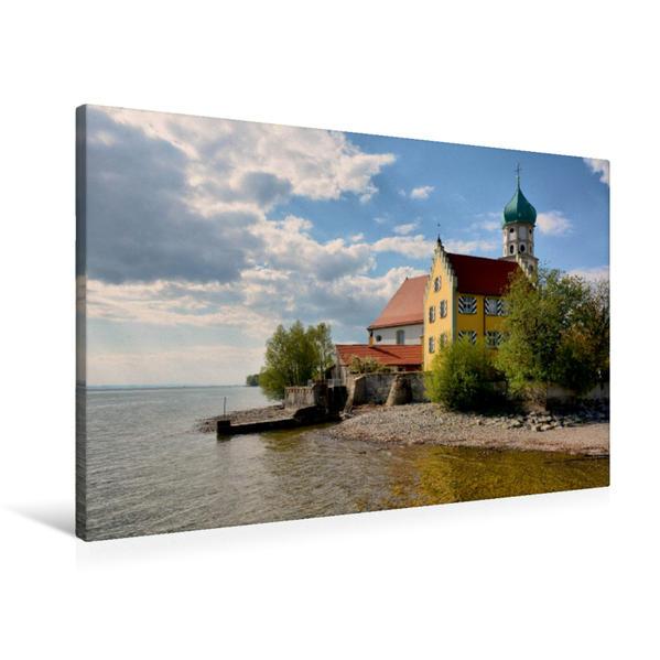 Premium Textil-Leinwand 90 cm x 60 cm quer, Wasserburg | Wandbild, Bild auf Keilrahmen, Fertigbild auf echter Leinwand, Leinwanddruck - Coverbild