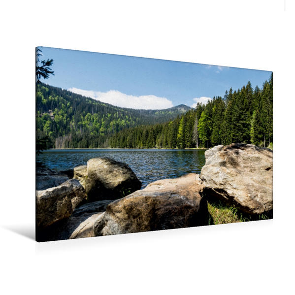 Premium Textil-Leinwand 120 cm x 80 cm quer, Idyllischer See   Wandbild, Bild auf Keilrahmen, Fertigbild auf echter Leinwand, Leinwanddruck - Coverbild