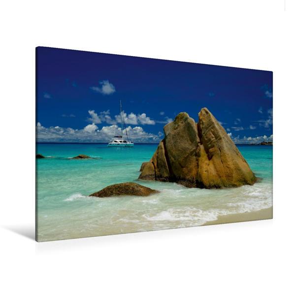 Premium Textil-Leinwand 120 cm x 80 cm quer, Anse Lazio - Bucht auf der Seychellen-Insel Praslin | Wandbild, Bild auf Keilrahmen, Fertigbild auf echter Leinwand, Leinwanddruck - Coverbild