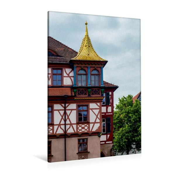 Premium Textil-Leinwand 80 cm x 120 cm  hoch, Goldenes Rathausdach Schwabach   Wandbild, Bild auf Keilrahmen, Fertigbild auf echter Leinwand, Leinwanddruck - Coverbild