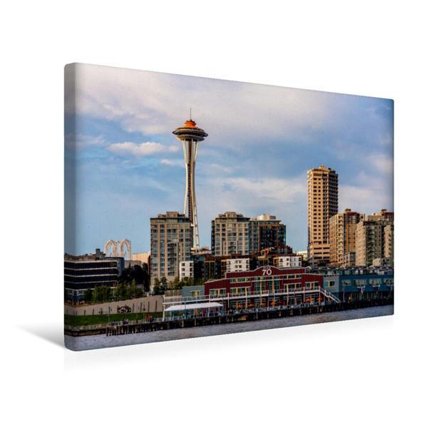 Premium Textil-Leinwand 45 cm x 30 cm quer, Space Needle | Wandbild, Bild auf Keilrahmen, Fertigbild auf echter Leinwand, Leinwanddruck - Coverbild