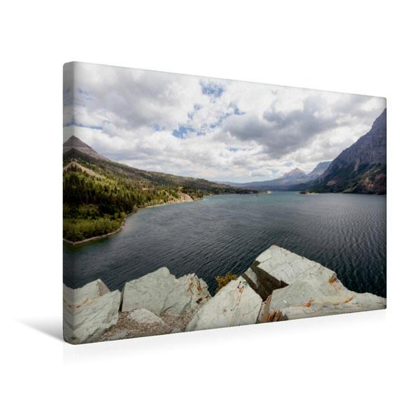 Premium Textil-Leinwand 45 cm x 30 cm quer, Blick Richtung Osten des St. Mary Lake | Wandbild, Bild auf Keilrahmen, Fertigbild auf echter Leinwand, Leinwanddruck - Coverbild