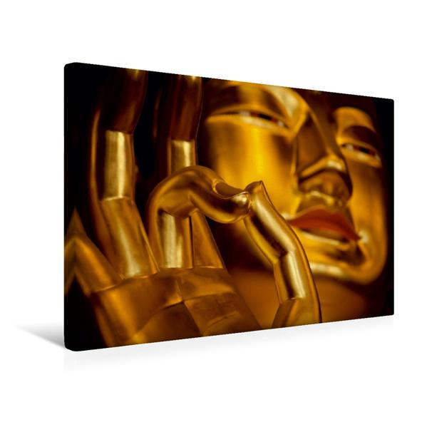 Premium Textil-Leinwand 45 cm x 30 cm quer, Goldener Buddha   Wandbild, Bild auf Keilrahmen, Fertigbild auf echter Leinwand, Leinwanddruck - Coverbild