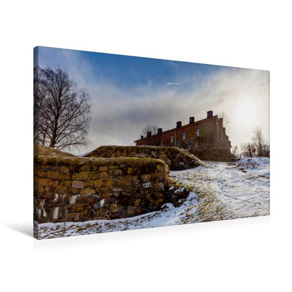Premium Textil-Leinwand 90 cm x 60 cm quer, Gebäude auf der Insel Suomenlinna   Wandbild, Bild auf Keilrahmen, Fertigbild auf echter Leinwand, Leinwanddruck - Coverbild