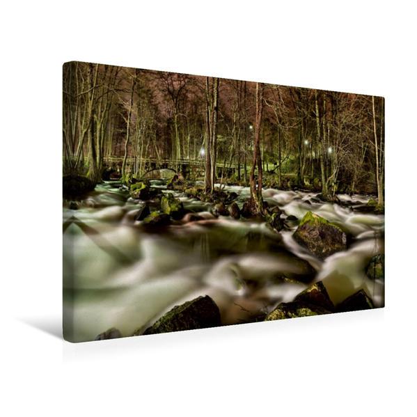 Premium Textil-Leinwand 45 cm x 30 cm quer, Stromschnellen des Flusses Eurajoki bei Kauttua | Wandbild, Bild auf Keilrahmen, Fertigbild auf echter Leinwand, Leinwanddruck - Coverbild