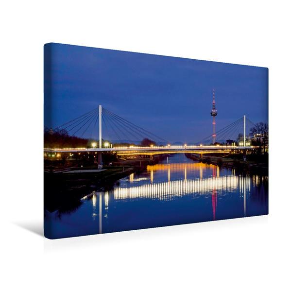 Premium Textil-Leinwand 45 cm x 30 cm quer, Mannheim - Fernsehturm am Neckar | Wandbild, Bild auf Keilrahmen, Fertigbild auf echter Leinwand, Leinwanddruck - Coverbild