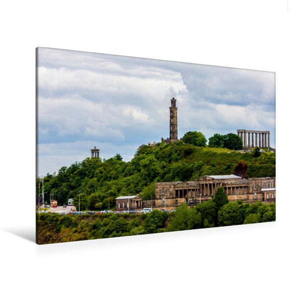 Premium Textil-Leinwand 120 cm x 80 cm quer, Calton Hill | Wandbild, Bild auf Keilrahmen, Fertigbild auf echter Leinwand, Leinwanddruck - Coverbild
