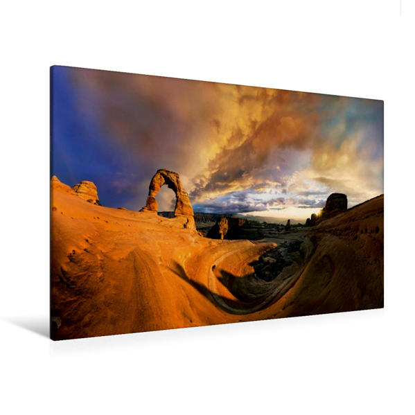 Premium Textil-Leinwand 120 cm x 80 cm quer, Delicate Arch, Arches Nationalpark, Utah, USA | Wandbild, Bild auf Keilrahmen, Fertigbild auf echter Leinwand, Leinwanddruck - Coverbild