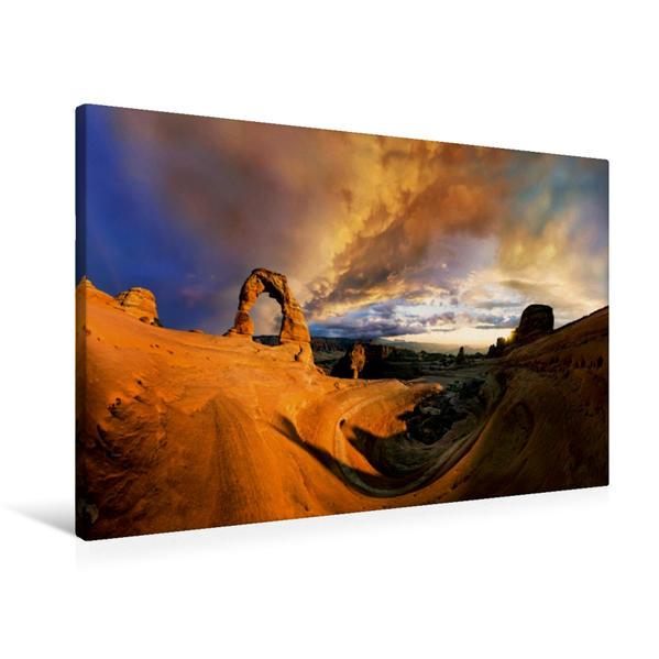 Premium Textil-Leinwand 90 cm x 60 cm quer, Delicate Arch, Arches Nationalpark, Utah, USA | Wandbild, Bild auf Keilrahmen, Fertigbild auf echter Leinwand, Leinwanddruck - Coverbild