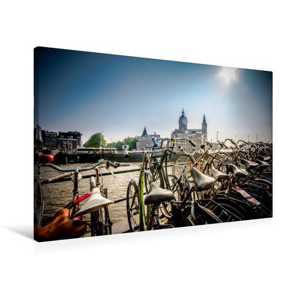 Premium Textil-Leinwand 90 cm x 60 cm quer, Amsterdam | Wandbild, Bild auf Keilrahmen, Fertigbild auf echter Leinwand, Leinwanddruck - Coverbild