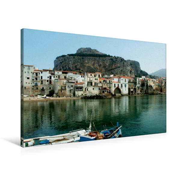 Premium Textil-Leinwand 90 cm x 60 cm quer, Cefalu, Sizilien | Wandbild, Bild auf Keilrahmen, Fertigbild auf echter Leinwand, Leinwanddruck - Coverbild