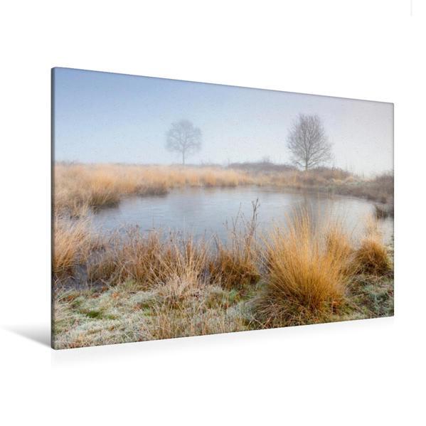 Premium Textil-Leinwand 120 cm x 80 cm quer, Kleiner Teich im Winter | Wandbild, Bild auf Keilrahmen, Fertigbild auf echter Leinwand, Leinwanddruck - Coverbild