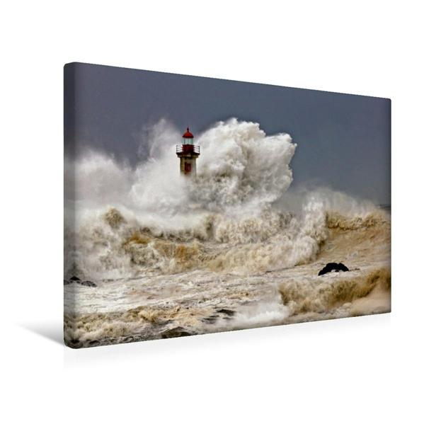Premium Textil-Leinwand 45 cm x 30 cm quer, Hohe Wellen in Foz | Wandbild, Bild auf Keilrahmen, Fertigbild auf echter Leinwand, Leinwanddruck - Coverbild
