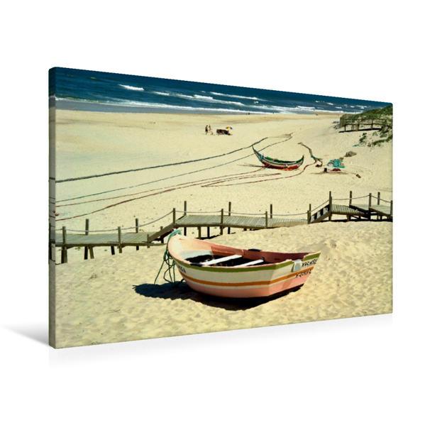 Premium Textil-Leinwand 90 cm x 60 cm quer, Fischerboot in Pedrogao   Wandbild, Bild auf Keilrahmen, Fertigbild auf echter Leinwand, Leinwanddruck - Coverbild