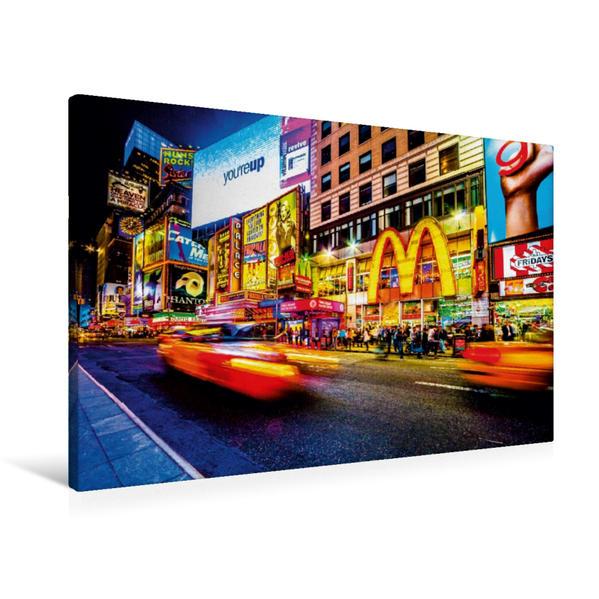 Premium Textil-Leinwand 90 cm x 60 cm quer, Times Square at Night | Wandbild, Bild auf Keilrahmen, Fertigbild auf echter Leinwand, Leinwanddruck - Coverbild