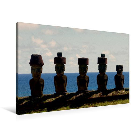 Premium Textil-Leinwand 90 cm x 60 cm quer, Ahu Nau Nau | Wandbild, Bild auf Keilrahmen, Fertigbild auf echter Leinwand, Leinwanddruck - Coverbild