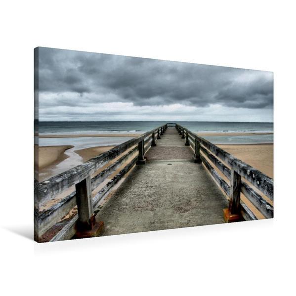 Premium Textil-Leinwand 90 cm x 60 cm quer, Omaha Beach | Wandbild, Bild auf Keilrahmen, Fertigbild auf echter Leinwand, Leinwanddruck - Coverbild