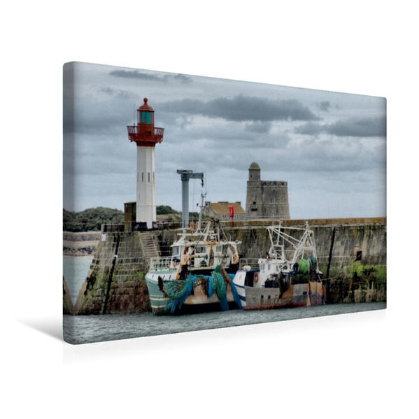 Premium Textil-Leinwand 45 cm x 30 cm quer, Hafen von Gatteville | Wandbild, Bild auf Keilrahmen, Fertigbild auf echter Leinwand, Leinwanddruck - Coverbild